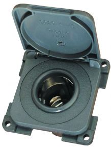 CBE 12V DC CIGARETTE AUTO SOCKET + HINGED COVER GREY